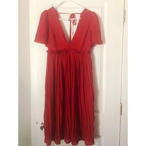 Red deep V neck dress